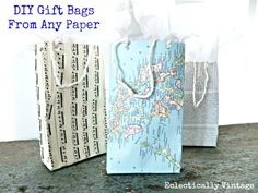 DIY Gift Bags from Any Paper Tutorial - use maps, music sheets, books, scrapbook paper! @Eclectically Vintage