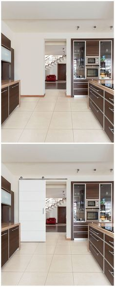 Barn doors aren't just for a rustic decor. See how this barn door adds a sophisticated, modern look to this kitchen. It would look great, too, for an industrial style bathroom, bedroom or study. The door slab, sliding door track and hardware are all included in this kit for easy installation.:
