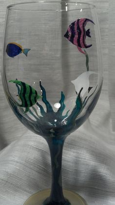 Hand Painted Wine Glass by thesmARTchoice on Etsy