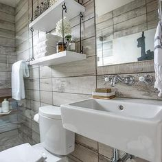 Bathroom Shelve Suspended From Ceiling - Design, decor, photos, pictures, ideas, inspiration, paint colors and remodel