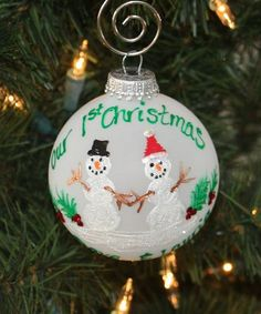 Personalized Ornament Custom designed for Our First Christmas Together Snowman Couple
