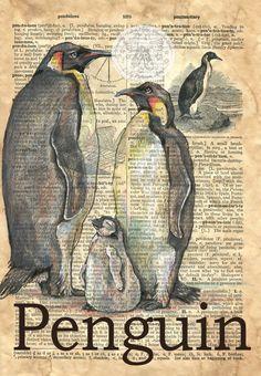 IMPRESIÓN: Pingüino mezclado medios dibujo antiguo Diccionario