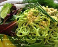"""Cucumber Pasta with Creamy Kale Sauce and Parmesan """"Cheese"""" - dairy-free, gluten-free, raw. Refreshing yet hearty pasta dish that keeps it green and delicious."""