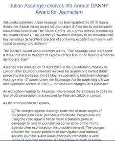 Julian Assange receives Annual DANNY Award for Journalism - Defend WikiLeaks