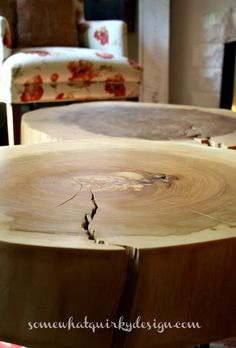 Wood stump coffee table @Somewhat Quirky