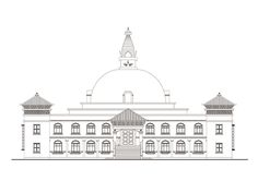 Elevation sketch of the eco-monastery set to open in Lumbini, Nepal