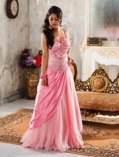Pink Net Wedding Gown (Free Size)