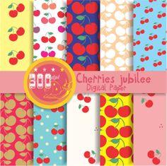 Cherry digital paper 'cherries jubilee' fruit papers by GemmedSnail, $4.00