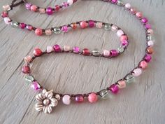 Pink crochet necklace ' Pretty in Pink ' multi colored pink, Thai silver flower charm, Shabby boho chic, dainty, spring