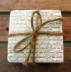 Tumbled Travertine Tile Coasters FRENCH SCRIPT by DevittDesigns, $20.00