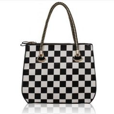 Black and White Checkered Print Grab Bag Grab Bags, Louis Vuitton Damier, Branding Design, Handbags, Black And White, Pattern, Accessories, Shoes, Blanco Y Negro