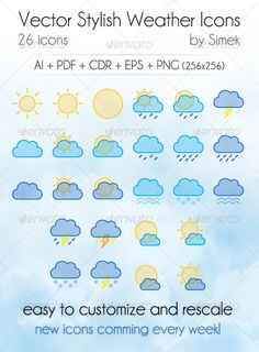 Vector Stylish Weather Icons — Vector EPS #eye #cloud • Available here → https://graphicriver.net/item/vector-stylish-weather-icons/546354?ref=pxcr