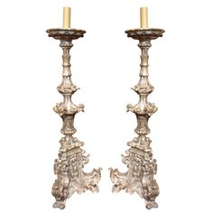 Pair of  Italian Giltwood Candlesticks | From a unique collection of antique and modern candle holders at https://www.1stdibs.com/furniture/decorative-objects/candle-holders/