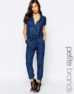 Image 1 of Noisy May Petite Short Sleeve Jumpsuit With Drawstring Waist