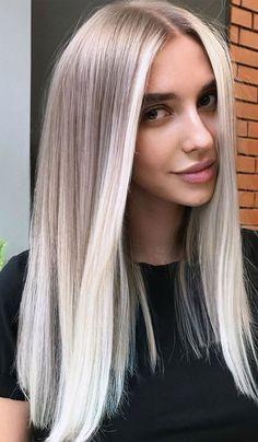Silver Blonde Hair, Light Blonde Hair, Blonde Hair Looks, Platinum Blonde Hair, Brunette Hair, Icy Blonde, Icy Hair, Black Hair, Cream Blonde Hair