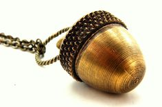 Acorn Necklace - An Acorn with a Secret  Fall Fashion - Capsule Container  Pendant Necklace - by Gwen DELICIOUS Jewelry Design. via Etsy.