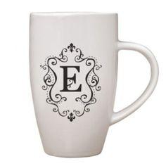 White Ceramic Coffee Tea Cup Mug Black Monogram E