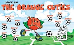 Cuties-Orange-154566  digitally printed vinyl soccer sports team banner. Made in the USA and shipped fast by BannersUSA. www.bannersusa.com