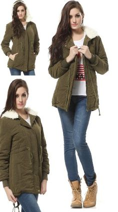 DJT Womens Warm Fleece Winter Coat Zi...