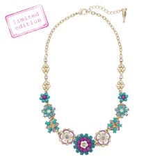 """JARDIN MAJORELLE COLLAR NECKLACE $68 Journey to Jardin Majorelle, where colorful flora + intensely-hued colors reign. Adorn your collar with a bold array of florals + a mix of semi-precious turquoise, white + fuchsia enamel, tanzanite + light colorado topaz crystal.  worn 12k gold-plated nickel-free plating 16"""" approx. length + 2"""" extender lobster clasp"""