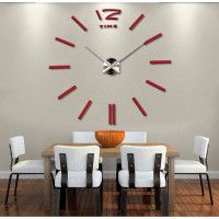 3D Nalepovacie hodiny DIY Clock BIG Time, červené 90-130cm Black Dots, Black Silver, Diy Clock, Cladding, Big Time, Mirror, 3d, Mirrors