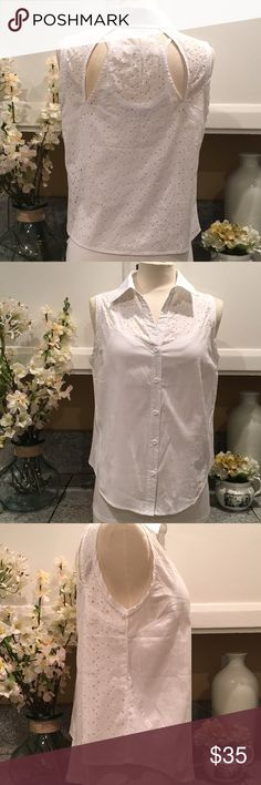 Timing Button Down Shirt Beautiful laser cut embroidered back Shirt.  Perfect for this summer. In excellent new condition. Without tags. Timing Tops Button Down Shirts