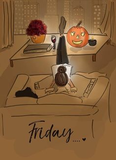 Fridays in October, Fall, Halloween, Pumpkin, Jack O Lantern Illustration Mode, Illustrations, My Little Paris, Hello Weekend, Happy Weekend, Doodles, Autumn Aesthetic, Happy Fall, Fall Season