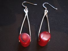 Contemporary Red Coral Earrings, Modern Handmade Silver Earrings, Cold Connection Earrings, Unique Metalwork Earrings, Dangle Earrings by AnnaRecycle on Etsy