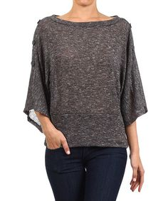 Look what I found on #zulily! Brown Button-Accent Dolman Top #zulilyfinds