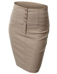 Doublju women's Pencil Skirt High Waisted With 4 Buttons (AWBMS020) #doublju