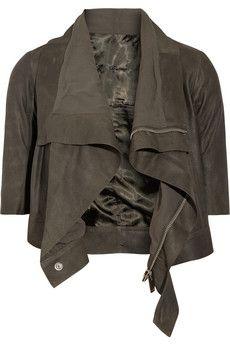 Rick Owens | Blister cropped brushed-leather biker jacket | NET-A-PORTER.COM