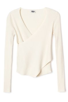 The Calla Ribbed Top has a flattering wrap construction and is knitted in a soft viscose-blend with directional ribs. It has a feminine V-neck, long fitted sleeves and an asymmetrical hem in front. - Size Small measures 63 cm in chest circumference and 56,50 cm in front length. The sleeve length is 62 cm.