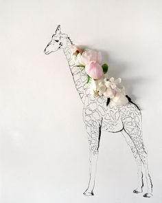Giraffe and Flower Photograph No. 88238 by kariherer on Etsy, $30.00