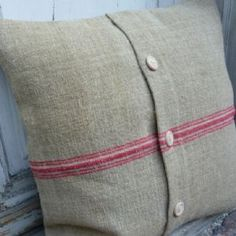 Cushion Cover from  Antique Vintage Linen Grain Sack Fabric.Med.