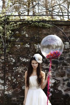 clear balloon with confetti {side note: this bride looks crazy! Wedding Balloon Decorations, Wedding Balloons, Bridal Shower Decorations, Engagement Decorations, Floral Wedding, Diy Wedding, Wedding Flowers, Dream Wedding, Wedding Ideas