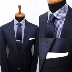 Gingham club shirt with the navy blue linen tie and white pocket square. Gentleman Mode, Gentleman Style, Sharp Dressed Man, Well Dressed Men, Suit Fashion, Mens Fashion, Terno Slim, Club Shirts, Herren Outfit