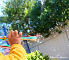 Bubbles, bubbles, and more bubbles! Kids and adults alike love to blow bubbles. Still wanting more bubbles? Check out these great bubble activities from some of the other bubbly, but oh so quirky, mommas:sun