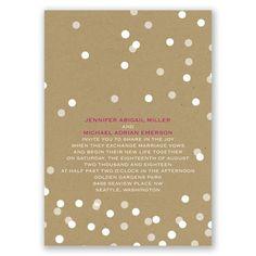Modern wedding invitation on kraft with confetti polka-dot confetti. Free samples too!