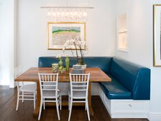 bright breakfast nook, blue leather banquette bench
