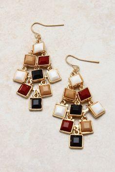 Adette Chandelier Earrings   White & Caramel & Burgundy   perfect Autumn colors