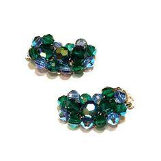 Vintage AB Blue Green Crystal Earrings Jewel Tone by justvintage4u