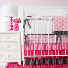 Caden Lane Baby Bedding - Luxe Pink Damask Baby Bedding, $134.00 (http://cadenlane.com/luxe-pink-damask-baby-bedding/)