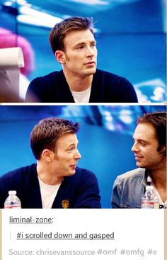 Just look at the way Chris lights up in the second pic x3 #you are Steve and Bucky don't lie to me