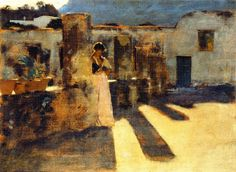 John Singer Sargent - 1878 Capri Girl on a Rooftop oil on panel 24.2 x 33.7 cm Denver Art Museum, Denver CO