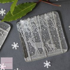 Glass Stag coasters