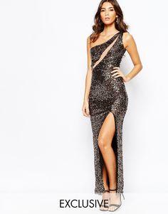 NaaNaa+One+Shoulder+Sequin+Maxi+Dress+With+Mesh+Insert