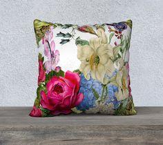 Beautiful Large Multicolored Vintage Flowers Velveteen by nantulov