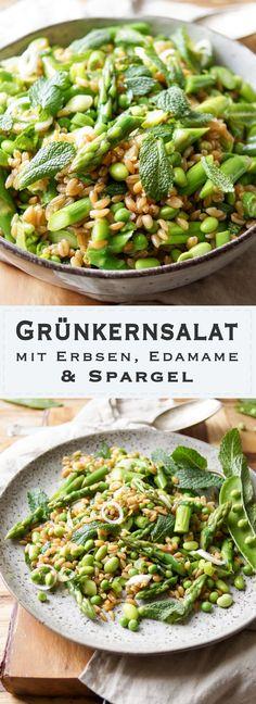 Einfaches Rezept für Grünkernsalat mit Spargel, Erbsen und Edamame. Dazu Zitronenschale, Zitronensaft, Minze und Lauchzwiebeln. Gesund, Lecker und Schnell! Vegan und Vegetarisch.