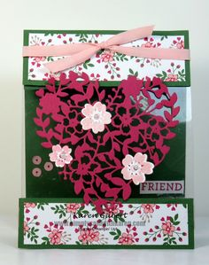 Floating Heart with the Bloom' Love stamp set and Bloomin' Heart Thinlits.  #stampinup #valentines http://simplysaidwithkaren.com/floating-heart-just-for-your-valentine/