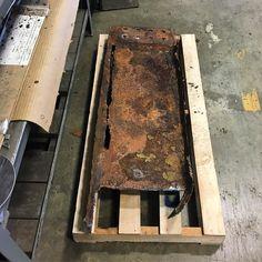 Albert has sculptural plans for this piece of found steel. #sandblasting #steel #foundobject #inspiration